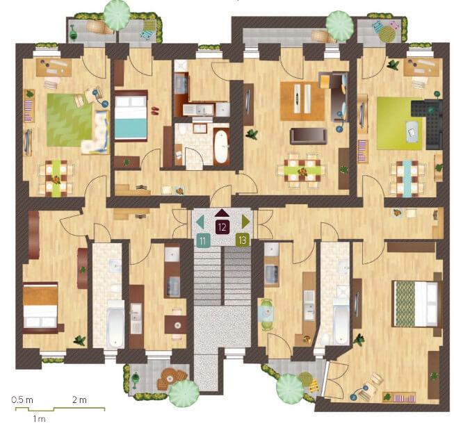 Grundriss 120 qm wohnung m bel ideen innenarchitektur for Mehrfamilienhaus grundriss beispiele